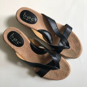 BOC Born 9 Black Leather Cork Wedge Flip Flops